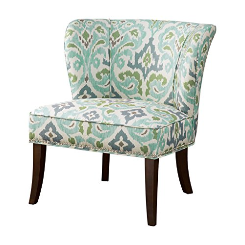 - ModHaus Living Contemporary Green and Blue Ikat Abstract Floral Print Upholstered Armless Accent Chair with Nailhead Trim and Dark Wood Legs - Includes Pen