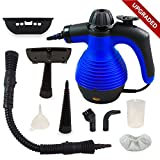 BLUE Handheld Multi-Purpose Pressurized Steam Cleaner with Safety Lock and Sanitizing System with FREE Attachments. Great for Bed Bug Treatment and other insect infestation