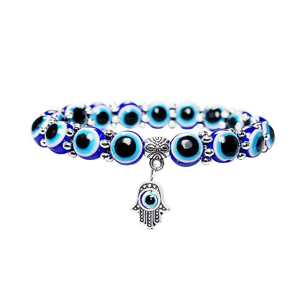Simdoc 10mm Blue Evil Eye Beads Stretch Bracelets Fatima Hand Pendant Hamas Fashion Jewelry For Protection Lucky