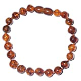 Genuine Baltic Amber Bracelet for Adult - Casual and Stylish - Cognac Color (8.7 inches)