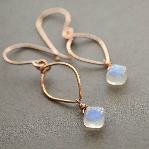Rainbow moonstone earrings lotus loop 14kt rose gold-filled June birthstone