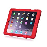 New Hot Item Ipad 2/3/4 Case Winpartner Travellor Silicone Plastic Dual Protective Back Cover Kid Proof Extreme Duty Case Standing Case for Ipad,ipad 4,ipad 3,ipad 2 Rainproof Sandproof Dirtproof Shockproof- Multiple Color Options (Red)