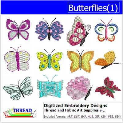 (Threadart Machine Embroidery Designs - Butterflies(1) - USB Stick)