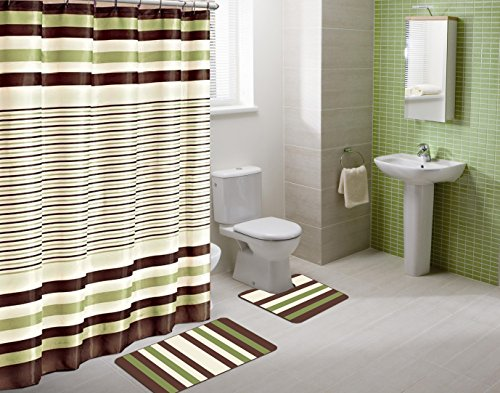 Winry Sage Green Striped 15-Piece Bathroom Accessory Set: 2 Bath Mats, Shower Curtain & 12 Fabric Covered Rings