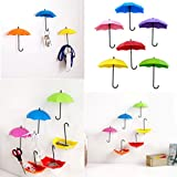 DatingDay 6 Pcs Umbrella Shaped Wall Decorative Key Chain Hooks Hold, Hair Pin Holder Organizer Hanger (Red Pink Yellow Green Blue Purple)