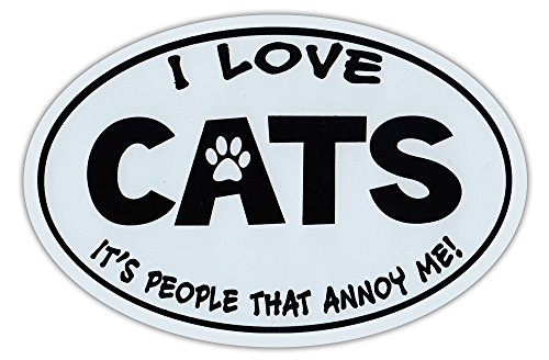 Oval Shaped Car Magnet - Love Cats, It's People That Annoy Me - Funny - Cars, Trucks, Refrigerators (People Magnet Car)