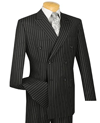 Pinstripe Pants Suit (VINCI Men's Gangster Pinstriped Double Breasted 6 Button Classic-Fit Suit New [Color Black | Size: 42 Regular/36 Waist])