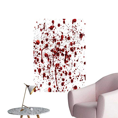 Wall Stickers for Living Room of Blood Style Bloodstain Horror Scary Zombie Halloween Themed Print Red White Vinyl Wall Stickers Print,32