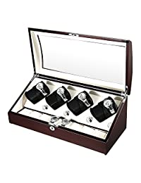 OLYMBROS Wooden Quad Automatic Watch Winder 8+8 Storage Boxes for 16 Watches with LED Ligh