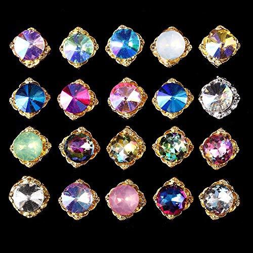 (Colorful Crystal spire diamond Nail Art Decorations 100pcs Diy 3D Water Drop Design Glitter AB Rhinestones Gold Studs - Rhinestones )