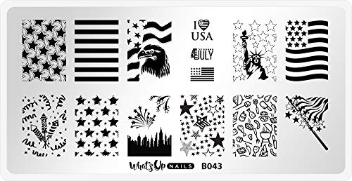 Whats Up Nails - B043 Stars and Stripes Stamping Plate for Nail Art Design