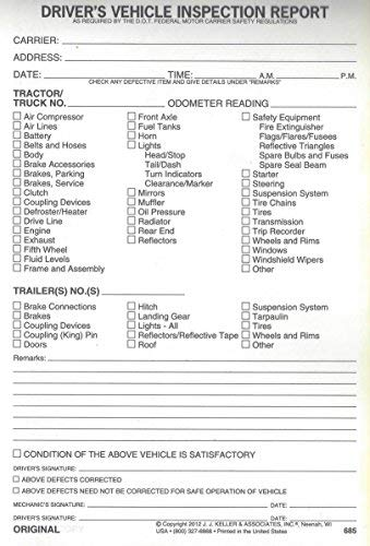 J. J. Keller 15B Detailed Drivers Vehicle Inspection Report, 2-Ply, w/Carbon - Pack of 10
