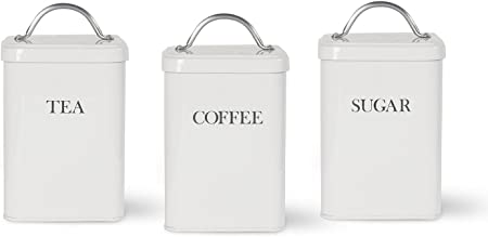 Garden Trading Tea Coffee Sugar Canisters In Chalk Amazon