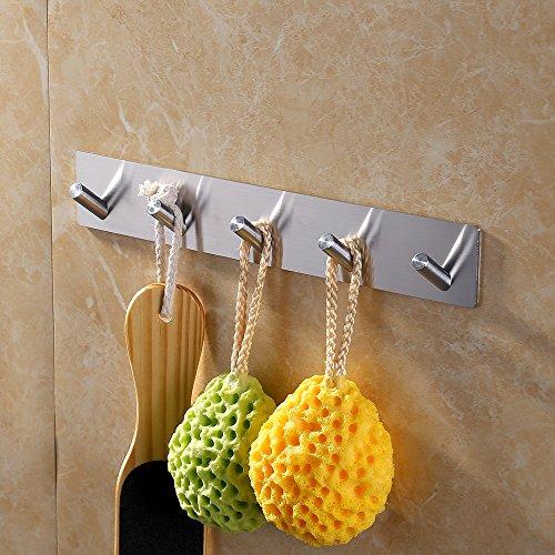 KES Self Adhesive Hooks Rail STAINLESS STEEL 5-Hook Rack Bath Towel Hook Sticky Bathroom Kitchen Towel Multi Hanger Brushed Finish, A7063H5-2