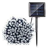 Qedertek Solar String Lights - 72ft 200 LED Fairy Christmas Lights - 8 Modes Ambiance Lighting for Outdoor - Patio - Lawn - Landscape - Garden - Home - Wedding (Cool White)