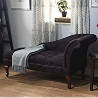 Modern Storage Chaise Lounge Chair - This Tufted Cushions is Microfiber Upholstered - Perfect For Your Living Room, Bedroom, or Any Space in Your Home - Satisfaction Guaranteed! (Black)