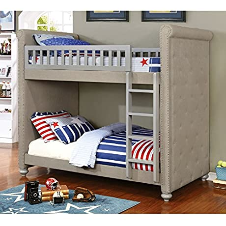 Furniture Of America Daylene Contemporary Twin Twin Grey Linen Fabric Bunk Bed