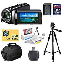 Sony HDR-PJ210 Digital HD Camcorder with Best Value Accessory Kit - Includes 16GB High-Speed SDHC Memory Card + Card Reader + Replacement FV100 4200MAH Li-ion Battery + Deluxe Padded Carrying Case + Professional 60