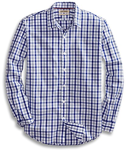 - Goodthreads Men's Standard-Fit Long-Sleeve Gingham Plaid Poplin Shirt, Blue/Grey, X-Large