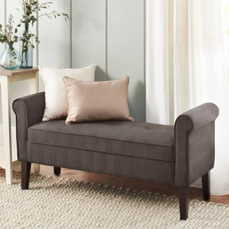 Bed Settee (Microfiber Bedroom Bench with Armrests, Solid Wood Legs, Multiple Finishes, Upholstery Settee, Backless, End of The Bed Bench, Entryway, Hall, Seating Space, Home Furniture,BONUS E-book (Steel Gray))