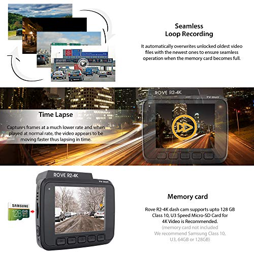 Rove R24K Dash Cam Built in WiFi GPS Car Dashboard Camera Recorder with UHD 2160P 24 LCD 150 Wide