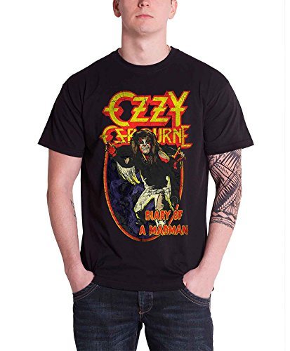 (Ozzy Osbourne Mens T Shirt Black Diary of A Mad Man Official)