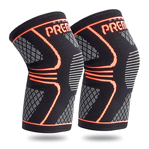 Knee Compression Sleeve Support - Best Knee Brace for Running, Basketball, Exercise, Powerlifting, Knee Pain Relief and Acl Tear Recovery -Both Women, Men(M)