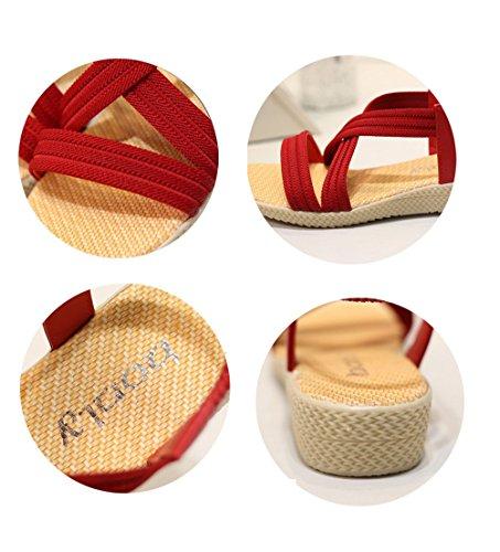 Toujours Assez Pas Cher Femmes Chaussures Sandales Confort Sandales Plates Rouges