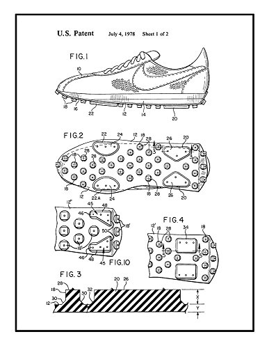 Frame a Patent Cleated Sole for Athletic Shoe Patent Print B