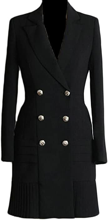 f6c46997f34c GAGA Women's Sexy Double Breasted Cotton Suit Blazers Dress Black XXS