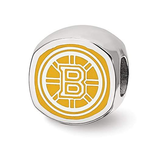 Solid 925 Sterling Silver Boston Bruins B Primary Cushion Shaped Double Logo Bead Charm Very Small ()