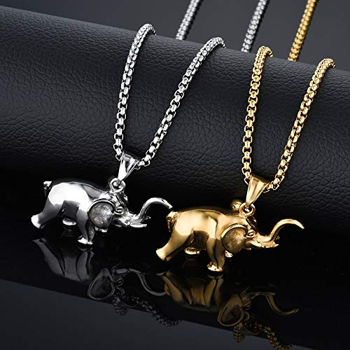 Metal Color: Gold-Color, Length: 50 cm Davitu New Stainless Steel Gold Color Elephant Pendant Necklace for Men//Women Hip Hop Lucky Jewelry Gift