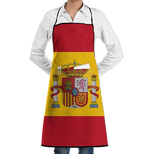 Pocket Waist Apron For Men & Women,Flag Of Spain Waist Tie Half Bistro Apron With 2 Pockets For Chef, Baker, Servers, Waitress, Waiter by BabylLave