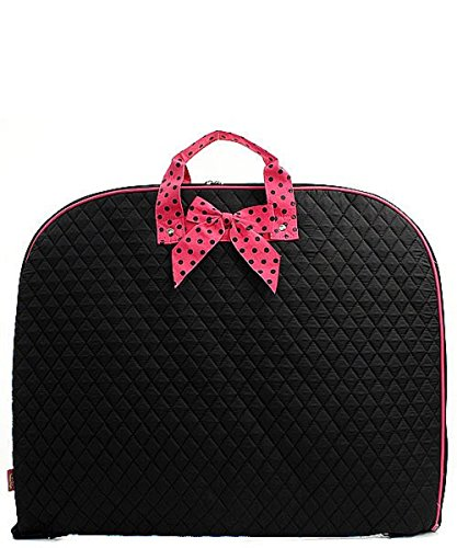Solid Color Quilted Garment Bag with Polka Dots Ribbon Accent (Black & Pink)