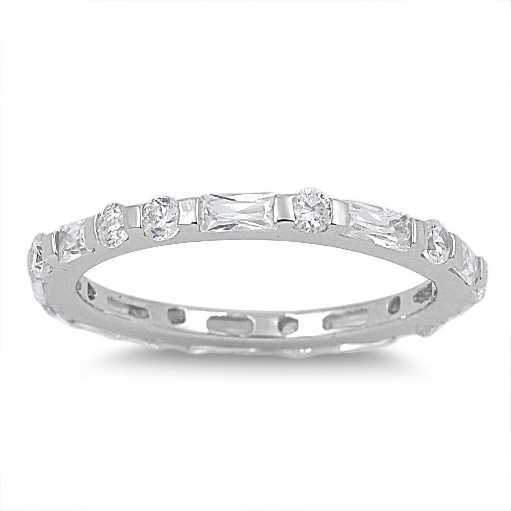 925 Sterling Silver Cubic Zirconia Alternate Round and Baguette Eternity Ring 2MM Size 6