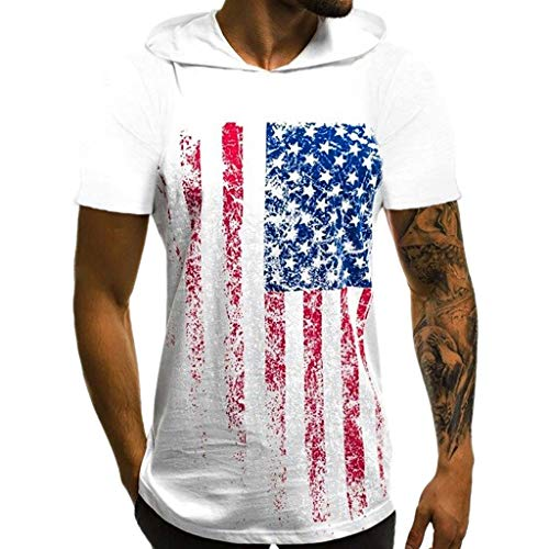 Men's Tank Tops,Short Sleeve Stripes Blouse Distressed USA Flag Print Hooded Sports Vest Cotton Casual Sport Gym Tee White ()