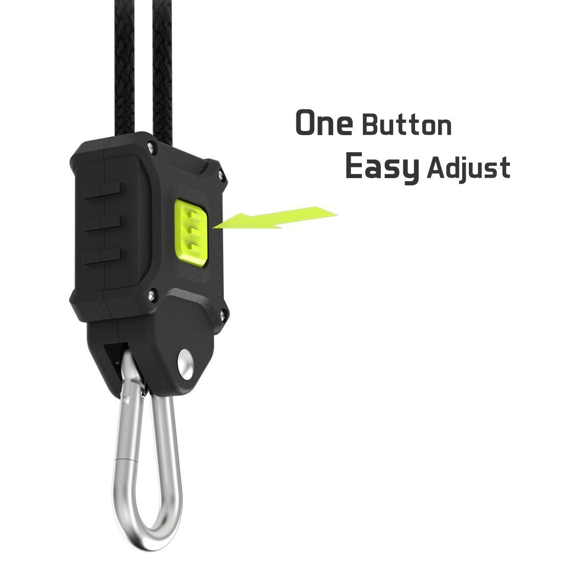 VIVOSUN 2-Pair 1/8 inch Rope Hanger w/Improved Design, More Convenience - Press Button Easy Adjust, Reinforced Metal Internal Gears, 8-ft Long & 150lbs Weight Capacity (Exclusively Patented) by VIVOSUN