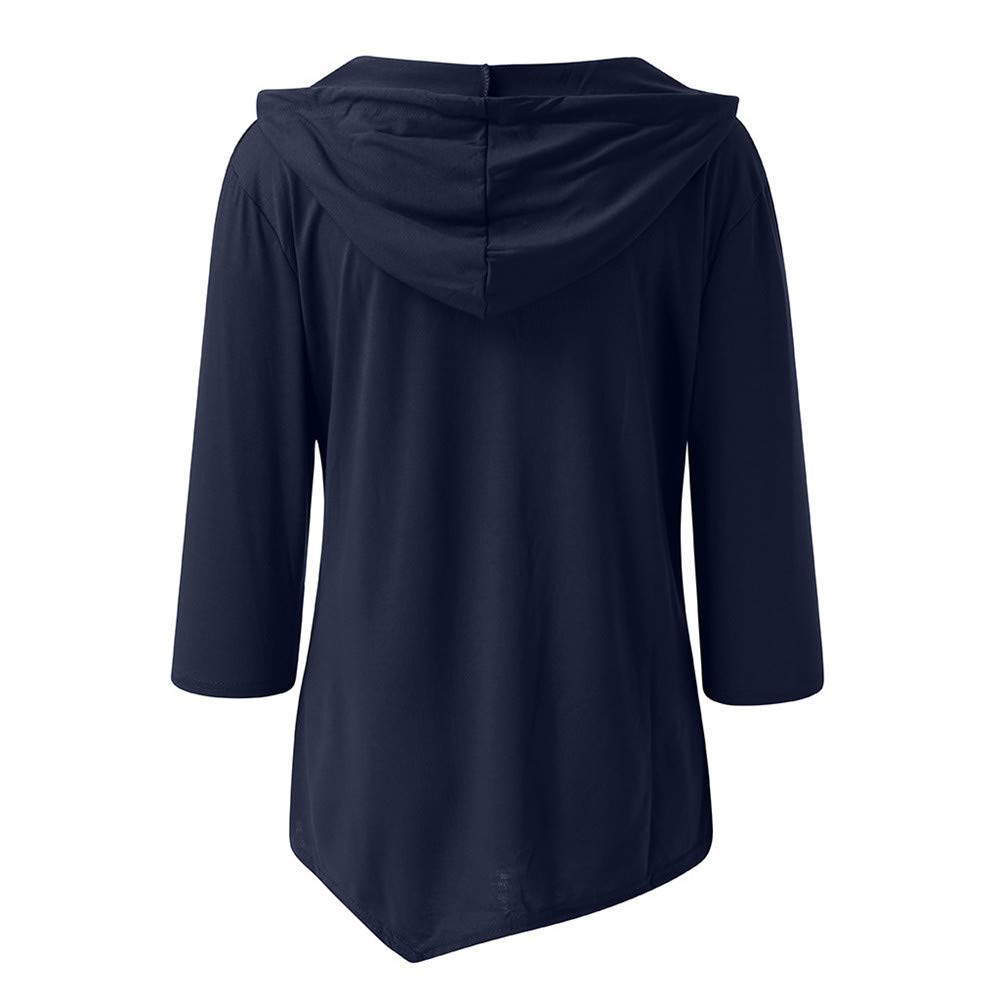 Women's Casual Solid Hoodie V Neck Blouse Asymmetric Hem Pullover 3/4 Sleeve Tunic Tops with Pockets, Plus Size Navy by Qiujold Women's Tops (Image #2)