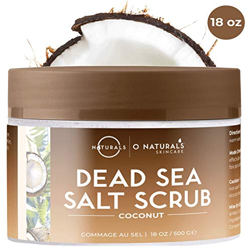 O Naturals Ultra Hydrating Exfoliating Coconut Oil Dead Sea Salt Body Scrub. Skin Smoothing, Anti Cellulite, Prevents, Acne Stretch Marks Ingrown Hairs Dead Skin Remover Razor Burns. Sweet Almond 18oz