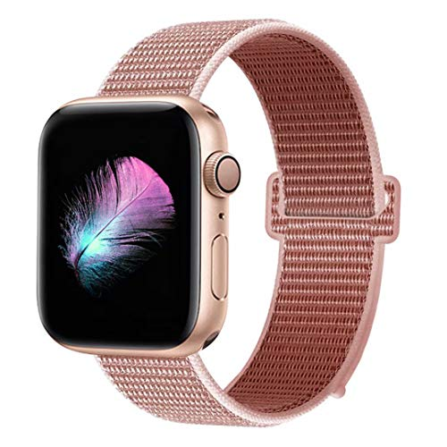HILIMNY Compatible for Apple Watch Band 42mm 44mm, New Nylon Sport Loop, Adjustable Closure Wrist Strap, Replacement Band Compatible for iWatch Series 4 3 2 1(42mm 44mm, Rose Pink) ()