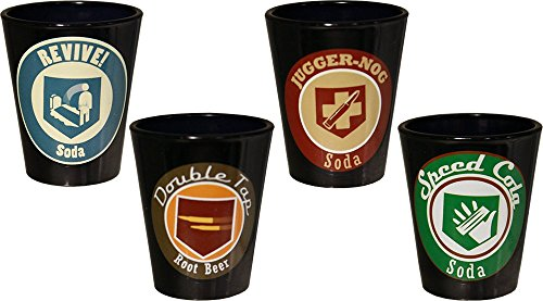Call of Duty Ops III Perks Shot Glass, Black, Set of 4 (Call Of Duty Zombies Perk Bottle Labels)