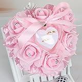bgblgf M Rose Ring Pillow PE Bubble Flower Heart-Shaped Cake Single Layer Ring Pillow, Pink
