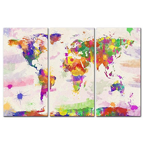 Watercolour World Map Canvas Print Wall Art Paintings For Home Decor In  Hand Painted Style 3 Pieces Panel Modern Framed Artwork Pictures For Living  Room ...