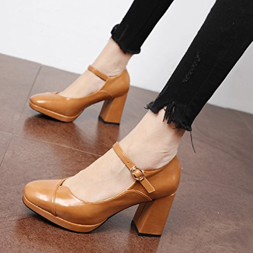 alto minimalista luz solo y de Qiqi con Retro formato tacón Amarillo gruesas Corte versátil zapatos con los Xue Zapatos de zapatos de zapatos la campo de SB1qf