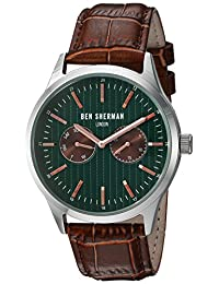 Ben Sherman Men's 'Spitalfields Social' Quartz Stainless Steel and Leather Automatic Watch, Color:Brown (Model: WB024BRA)