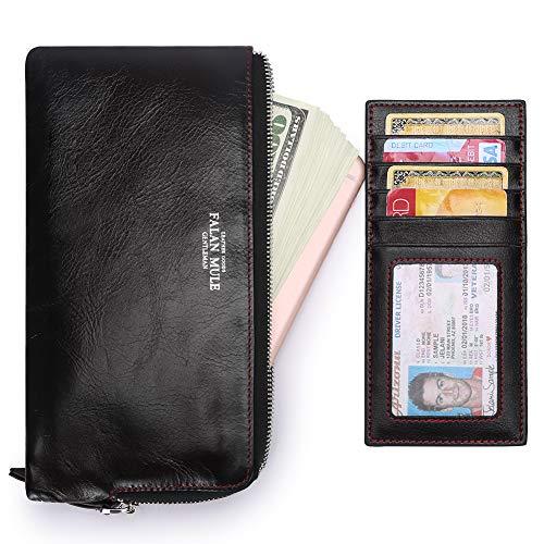 (Slim Soft Wallet for Men Long Minimalist Thin Leather Zipper Closure Vintage Clutch Purse)