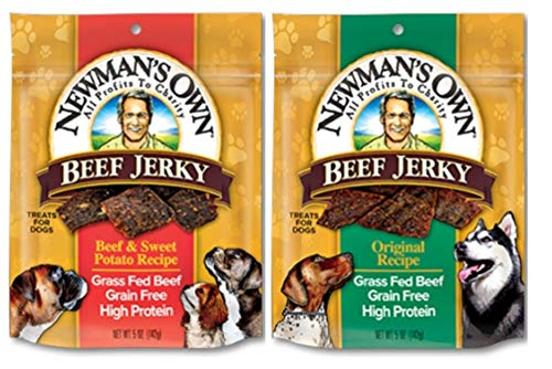 - Newman's Own Grain Free Grass Fed Beef Jerky Dog Treats 2 Flavor Variety Bundle: (1) Original Recipe, and (1) Beef & Sweet Potato Recipe, 5 Oz. Ea. (2 Bags Total)