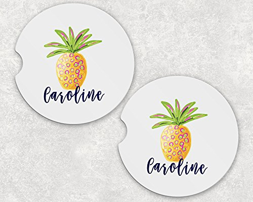 (Monogrammed Car Coasters - Absorbent Sandstone - Pineapple (SET of)