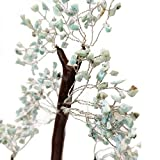 Crocon Larimar Gemstone Money Tree Feng Shui Bonsai for Reiki Healing Chakra Stone Balancing Energy Generator Spiritual Meditation Home Interior Office Decor Size 10-12 Inch