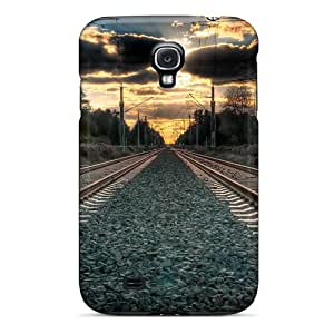 New Shockproof Protection Case Cover For Galaxy S4/ Amazing Straight Train Tracks Hdr Case Cover
